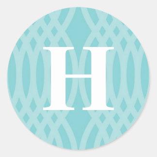 Ornate Woven Monogram - Letter H Classic Round Sticker