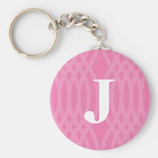Ornate Woven Monogram - Letter J Basic Round Button Key Ring