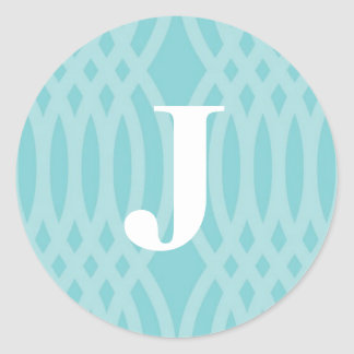 Ornate Woven Monogram - Letter J Round Sticker