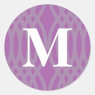 Ornate Woven Monogram - Letter M Round Sticker