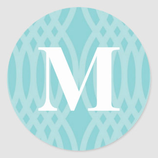 Ornate Woven Monogram - Letter M Round Sticker