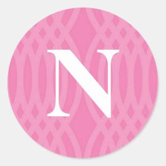 Ornate Woven Monogram - Letter N Round Sticker