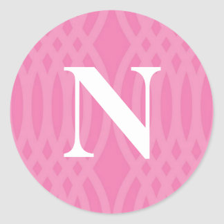 Ornate Woven Monogram - Letter N Round Stickers