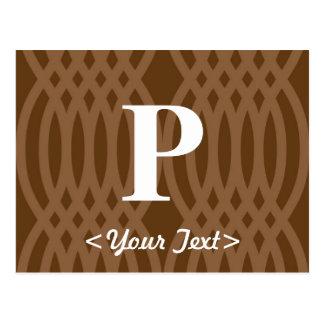 Ornate Woven Monogram - Letter P Postcard