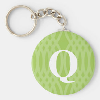 Ornate Woven Monogram - Letter Q Basic Round Button Key Ring