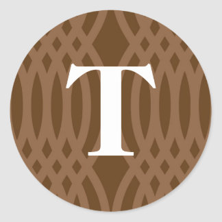 Ornate Woven Monogram - Letter T Round Sticker