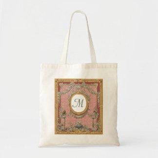 Ornately Framed Monogram, Vintage Floral Tapestry Budget Tote Bag