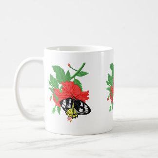 Ornitopthera Butterfly and Hibiscus Flower Coffee Mug
