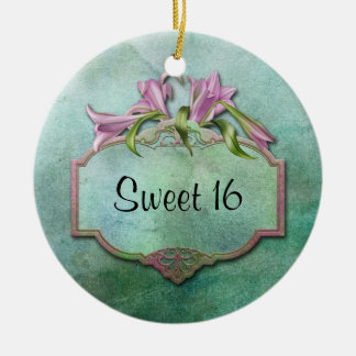 Ornment Pink Lilies Sweet 16 Christmas Ornament