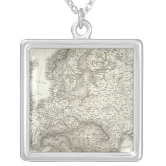 Orograph Europa - Physical Map of Europe Silver Plated Necklace