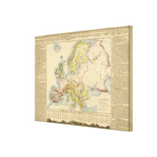 Orographic map of Europe Canvas Print