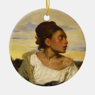 Orphan Girl at the Cemetery by Eugene Delacroix Round Ceramic Decoration
