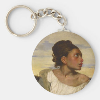 Orphan Girl at the Cemetery Basic Round Button Key Ring