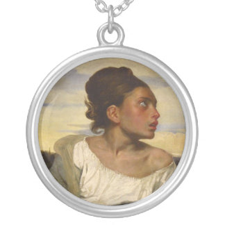 Orphan Girl at the Cemetery Round Pendant Necklace
