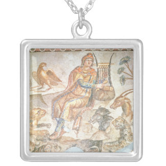 Orpheus playing to the animals, Roman mosaic Silver Plated Necklace
