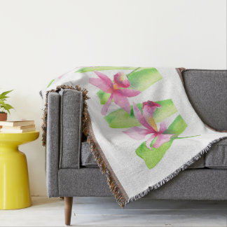 Orquídea watercolor Pretty Decorative Colorful Throw Blanket