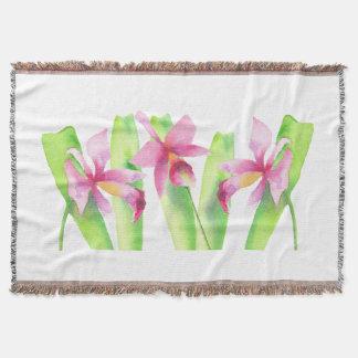 Orquídea watercolor Pretty Decorative Colorful Throw Blanket