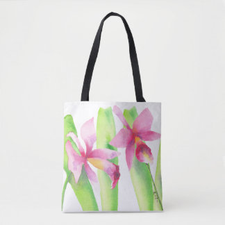 Orquídea watercolor Pretty Decorative Colorful Tote Bag