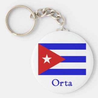 Orta Cuban Flag Basic Round Button Key Ring
