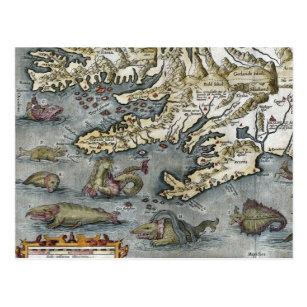 Ortelius Map Sea Monsters Postcards