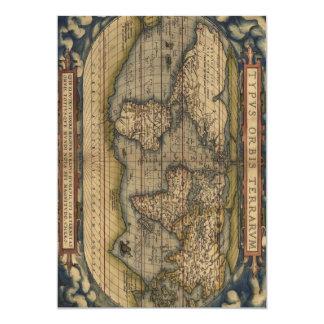 Ortelius World Map 1570 13 Cm X 18 Cm Invitation Card
