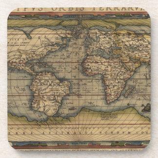Ortelius World Map 1570 Beverage Coaster