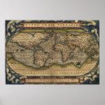 Ortelius World Map 1570 Poster