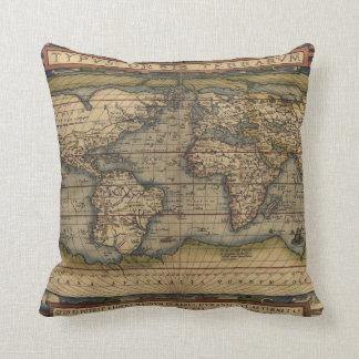 Ortelius World Map Throw Pillow