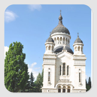 Orthodox cathedral in Cluj Napoca, Romania Square Sticker