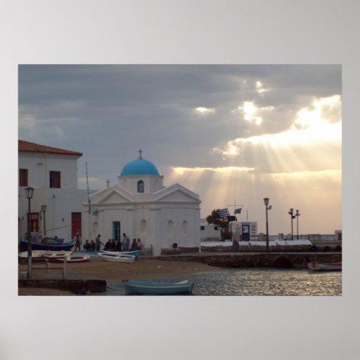 Orthodox Church Mykonos Island Greece Poster