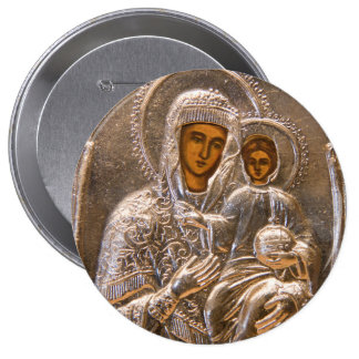 Orthodox icon 10 cm round badge
