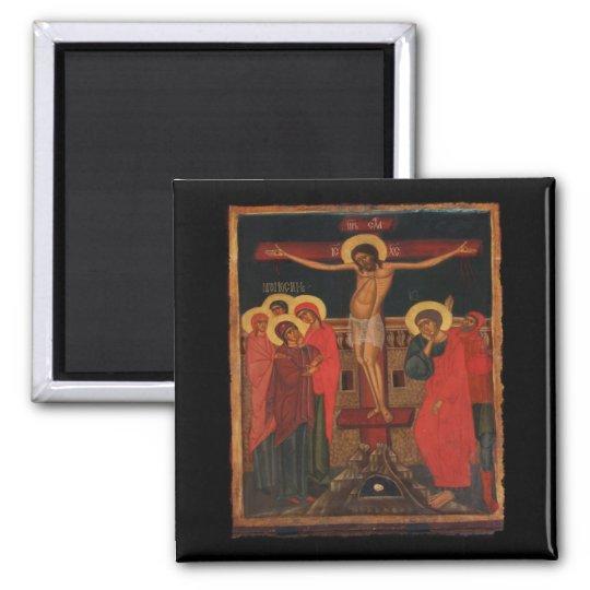 Orthodox Icon of Jesus on the Cross Square Magnet