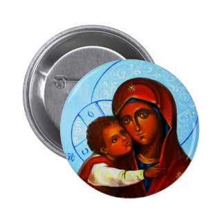 Orthodox Icon Virgin and Child WindowIntoHeaven Pinback Buttons