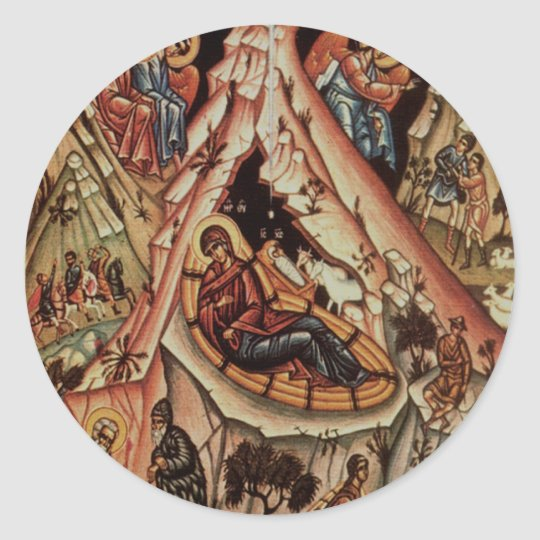 Orthodox Nativity II Classic Round Sticker