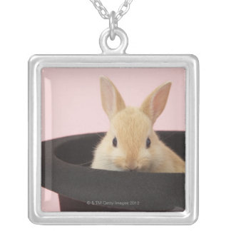 Oryctolagus cuniculus square pendant necklace