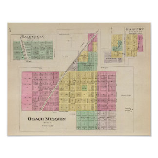 Osage Mission, Galesburg, and Earlton, Kansas Poster