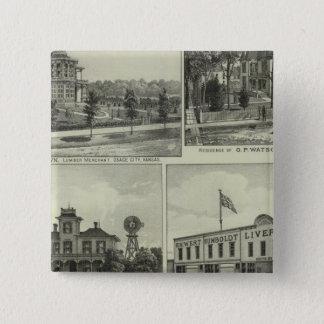 Osage, Mound, and Burlington, Kansas 15 Cm Square Badge