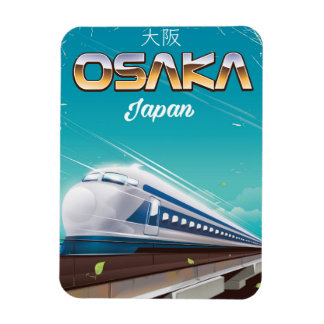 Osaka Japan bullet Train Vintage travel poster Rectangular Photo Magnet