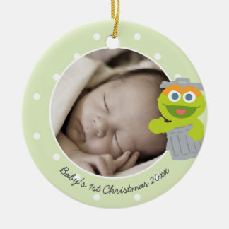 Oscar | Baby's First Christmas - Add Your Name Round Ceramic Decoration