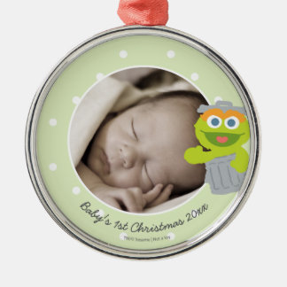 Oscar | Baby's First Christmas - Add Your Name Silver-Colored Round Decoration