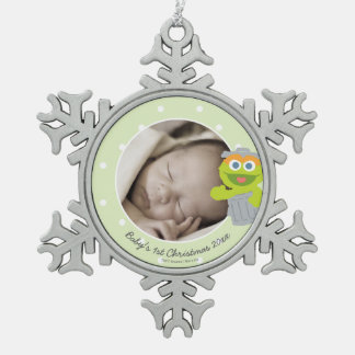 Oscar | Baby's First Christmas - Add Your Name Snowflake Pewter Christmas Ornament