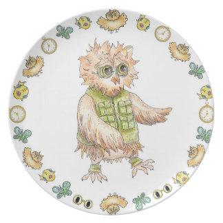 Oscar Owl Melamine Birthday Plate