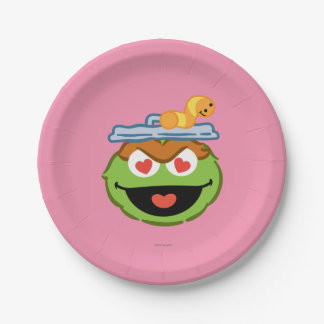 Oscar Smiling Face with Heart-Shaped Eyes Paper Plate