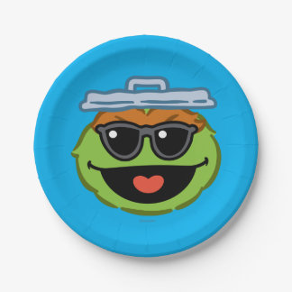 Oscar Smiling Face with Sunglasses Paper Plate