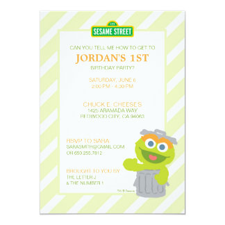 Oscar the Grouch Baby Birthday 13 Cm X 18 Cm Invitation Card