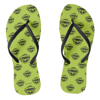 Oscar the Grouch Green Pattern Flip Flops