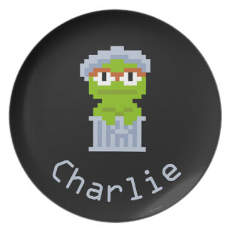 Oscar the Grouch Pixel Art   Add Your Name Party Plates