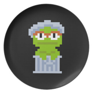 Oscar the Grouch Pixel Art Party Plate