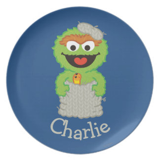 Oscar the Grouch Wool Style | Add Your Name Dinner Plate