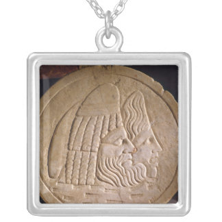 Oscillum depicting theatrical masks silver plated necklace